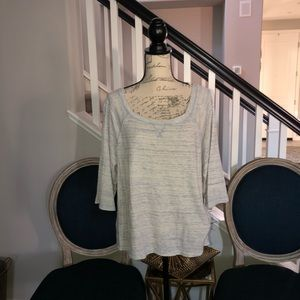 FREE PEOPLE LIGHT BLUE/WHITE TOP L NWOT